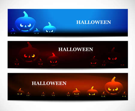 wicked set: Happy halloween headers set colorful vector illustration