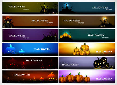 wicked set: abstract bright colorful headers 12 collection halloween design vector illustration