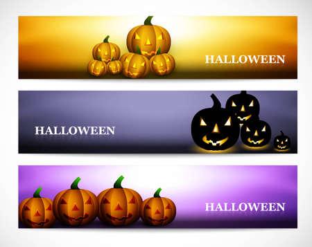 wicked set: Happy halloween pumpkins three headers set colorful vector illustration Illustration