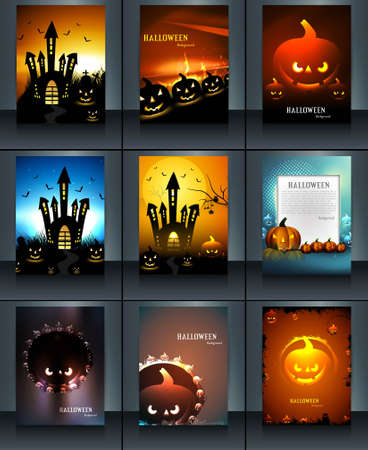 Halloween party 9 Brochure collection reflection presentation bright colorful vector design Vector