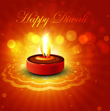 Beautiful colorful happy diwali diya bright colorful hindu festival Vector