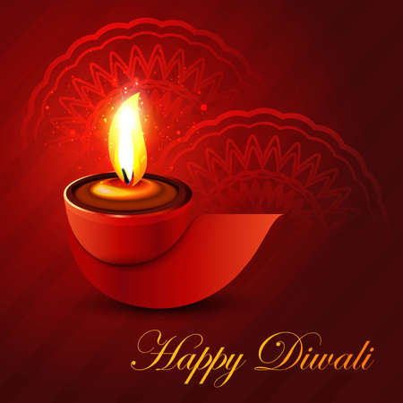 Beautiful shiny happy diwali diya colorful hindu festival background illustration Vector