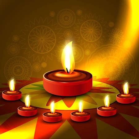 Beautiful shiny happy diwali diya colorful rangoli hindu festival background Vector