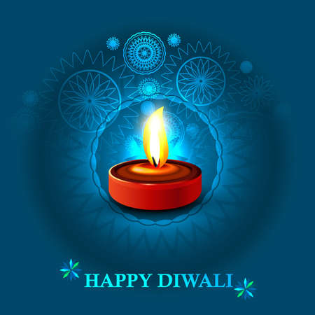 Happy diwali diya celebration blue colorful background Vector
