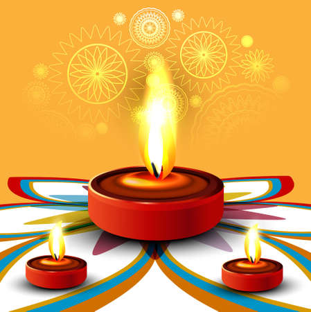 Happy diwali beautiful diya rangoli colorful hindu festival vector illustration Vector