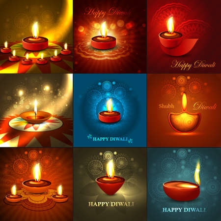 diwali celebration: Beautiful happy diwali 9 collection presentation bright colorful hindu festival background Illustration