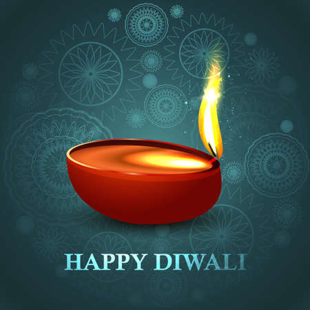 Happy diwali beautiful diya blue colorful hindu festival background vector Vector