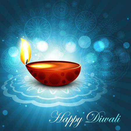 Beautiful happy diwali bright blue colorful hindu diya festival background illustration Vector