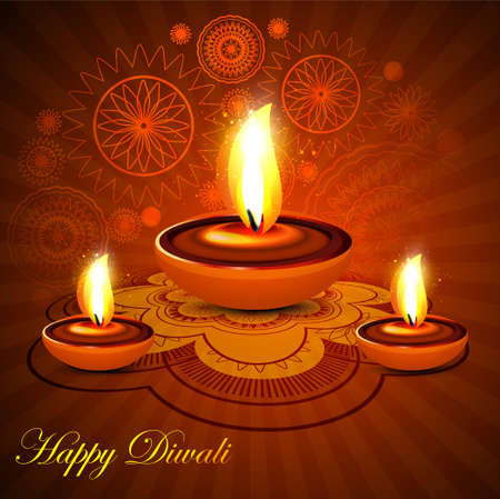 Beautiful happy diwali rangoli colorful presentation hindu diya festival background Vector
