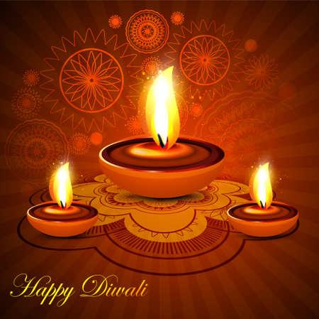 candil: Fondo hermoso rangoli diwali feliz colorida presentaci�n del festival diya hind� Vectores