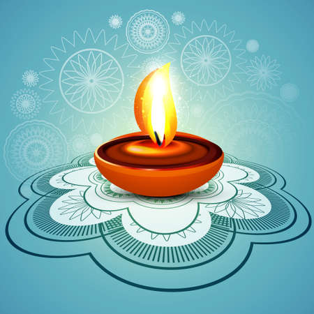 Beautiful stylish rangoli happy diwali blue colorful hindu diya festival background