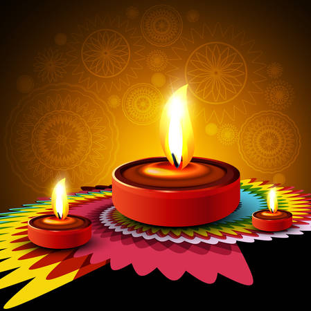 Beautiful Happy diwali diya rangoli hindu festival design background Vector