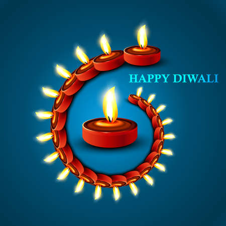 Beautiful Happy diwali stylish diya blue colorful hindu festival background illustration Vector