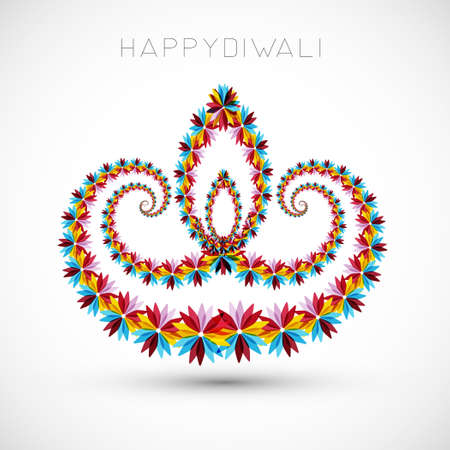 Artistic with floral colorful decoration for diwali festival celebration design vector Vector