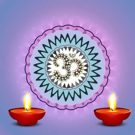 Beautiful colorful diwali diya rangoli colorful background vector Vector