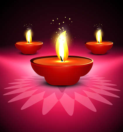 Beautiful colorful diwali diya on colorful design illustration Vector