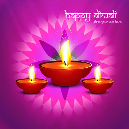 Beautiful happy diwali diya bright colorful hindu festival background vector illustration Vector