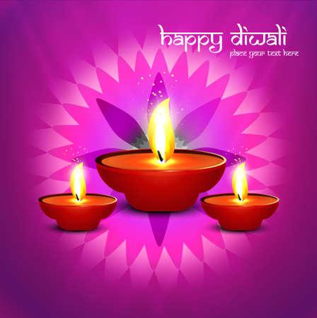 Beautiful happy diwali diya bright colorful hindu festival background vector illustration Stock Vector - 22246683