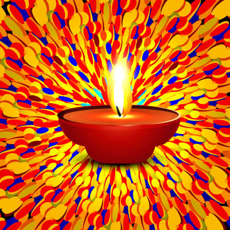 Beautiful happy diwali dotted colorful presentation hindu diya festival background vector Vector