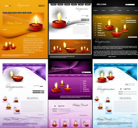 Deepawali diwali diya website template  presentation collection colorful design  Vector