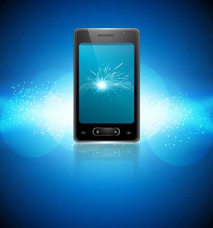 Mobile smartphone original reflection blue colorful background Stock Vector - 22274448
