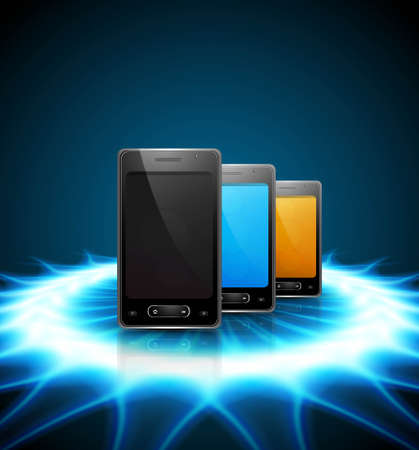 Mobile smartphone original reflection blue colorful presentation background illustration Stock Vector - 22274451