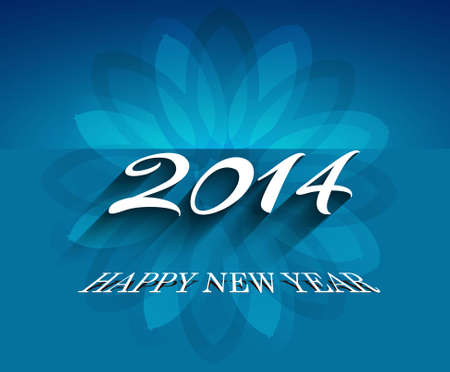 Beautiful celebration 2014  Happy New Year card blue colorful