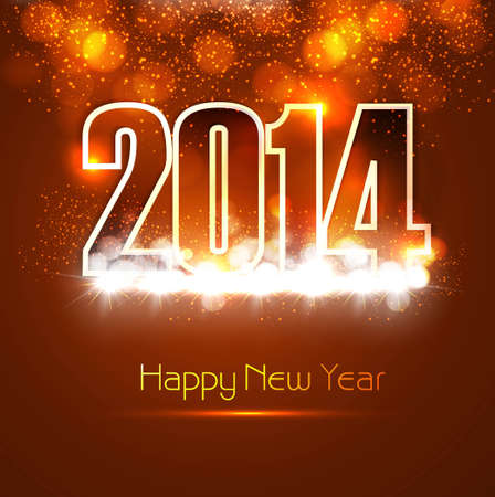 Beautiful Happy new year 2014 bright colorful celebration background