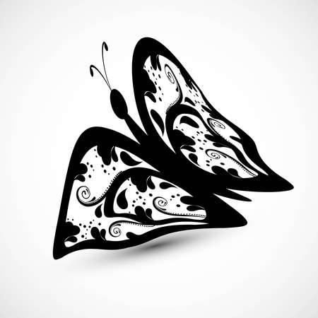 tatto: Artistic styles butterfly tatto art design illustration Illustration