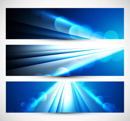 Abstract three headers blue wave  Vector