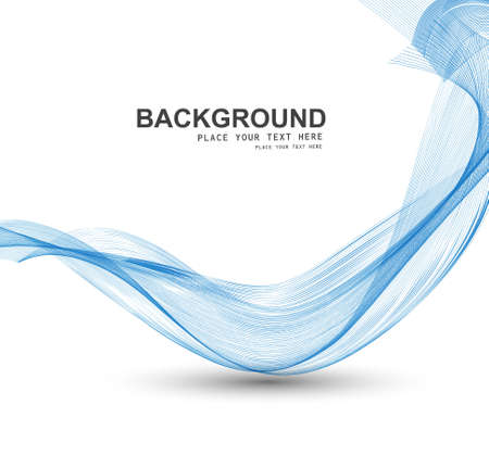 abstract blue stylish line smoke wave background vector