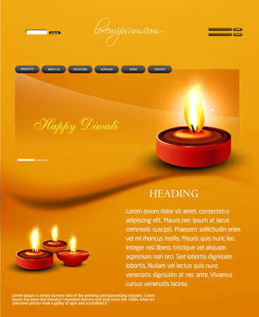 Deepawali diwali diya website template presentation bright colorful vector design Vector