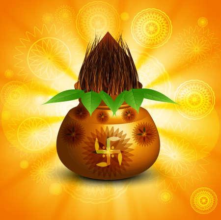 Diwali pooja Beautiful kalash bright colorful background vector Vector