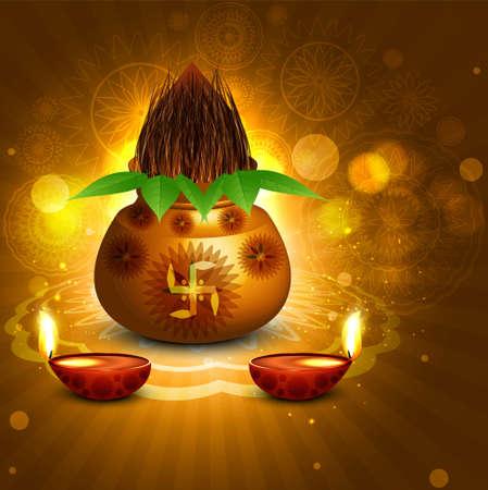 pooja: Fantastic diwali pooja kalash diya colorful background vector Illustration