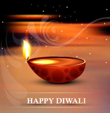 Beautiful happy diwali artistic diya bright colorful hindu festival background  Vector