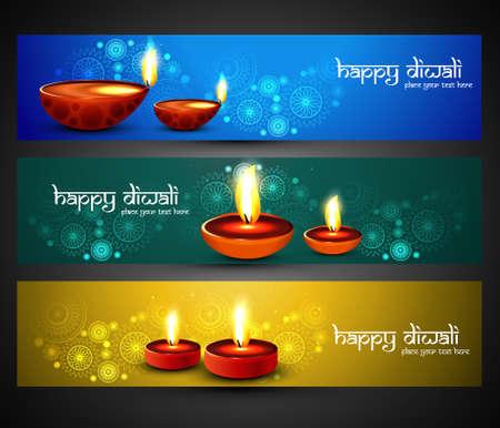 Happy diwali religious stylish colorful three set headers vector Vector