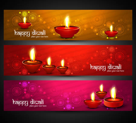Beautiful religious bright colorful happy diwali headers set vector Ilustração