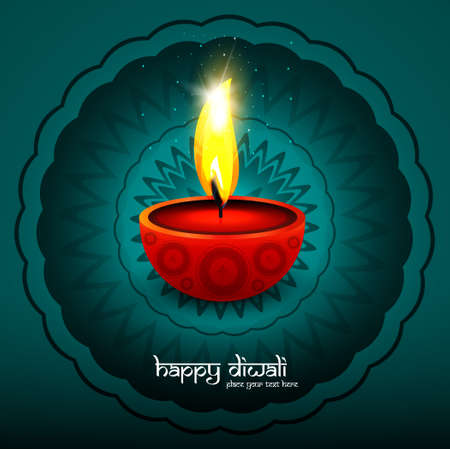 Happy Diwali festival celebration card colorful vector background Vector