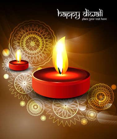 lit lamp: Happy Diwali festival celebration colorful Illuminated oil lit lamp vector