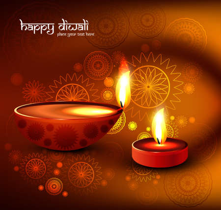 Beautiful religious colorful diwali festival with beautiful lamps background Vector