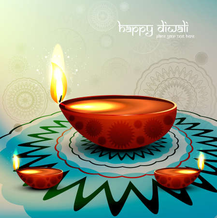 Diwali festival with beautiful diya colorful rangoli background illustration Illustration