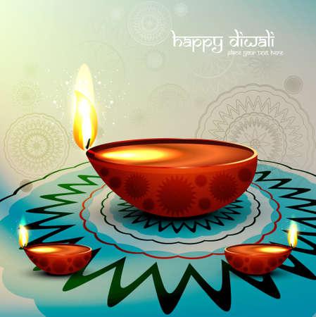 Diwali festival with beautiful diya colorful rangoli background illustration Illustration