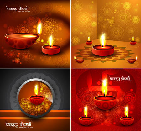 Happy diwali Beautiful four collection presentation colorful rangoli hindu festival background  Vector