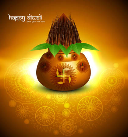 Beautiful Diwali pooja kalash colorful background Vector