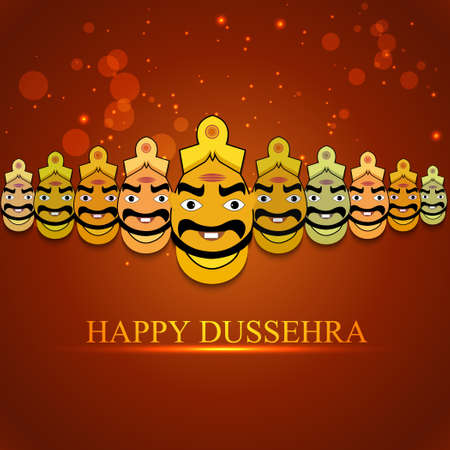 Indian festival Dussehra for Ravan with his ten heads design vector