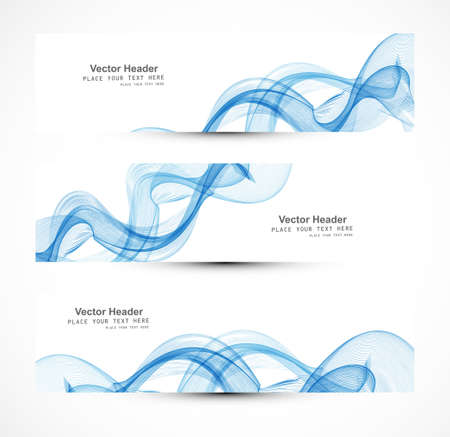 whit: Abstract header blue wire line wave whit vector design