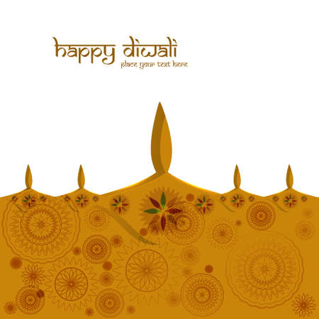 Beautiful colorful greeting card diwali diya background vector Vector