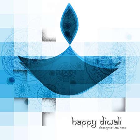 Diwali diya blue colorful vector illustration Illustration