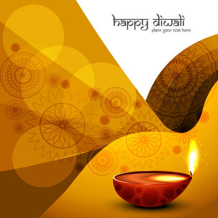 Diwali diya festival colorful design wave vector Vector