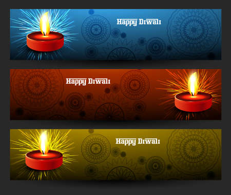 Happy diwali beautiful bright three colorful set of headers vector design Vector
